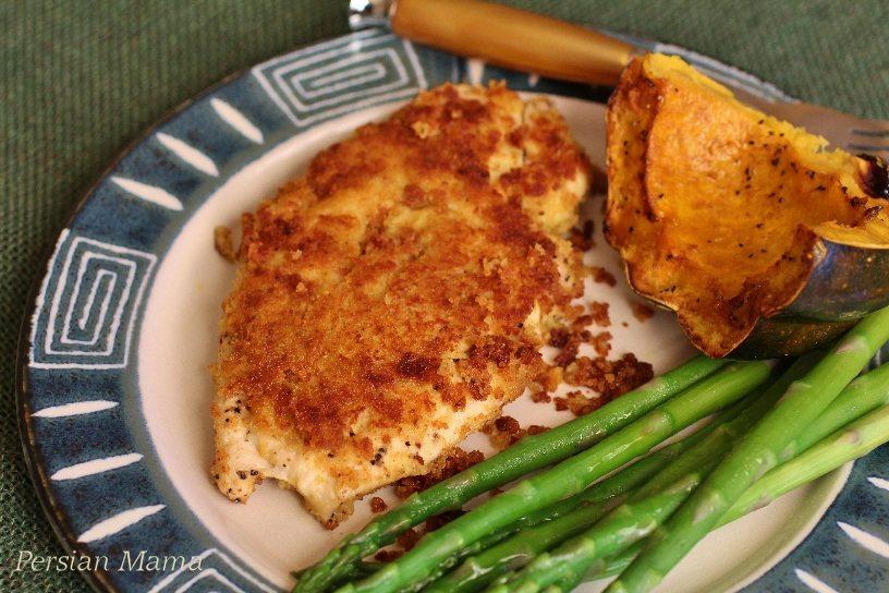 Panko crusted hummus chicken