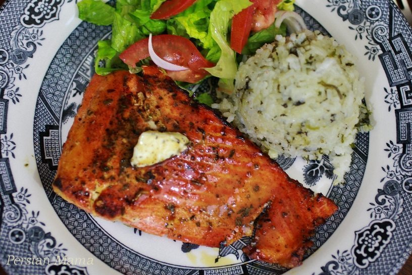BLACKENED SALMON WITH STICKY HERB RICE