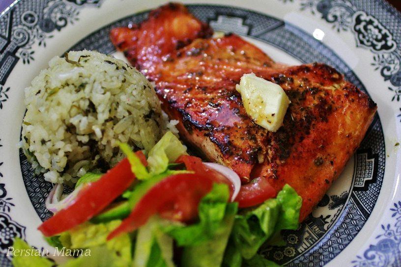 Sabzi Plolo Ba Mahi Blackened Salmon & Sticky Herb Rice