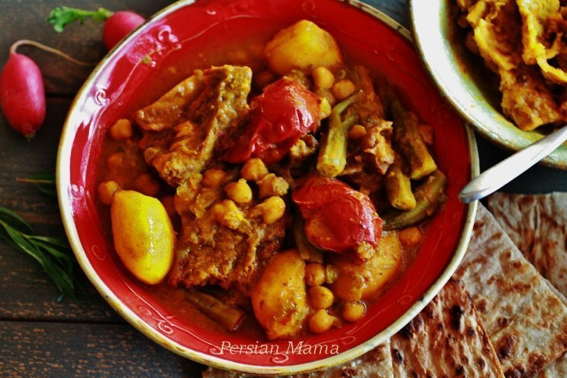 Abgoosht is a rustic stew made with lamb or beef and chickpeas