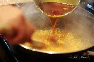 pour syrup in the batter