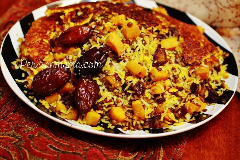 Adas polo with dates layered in saffron rice with tahdig