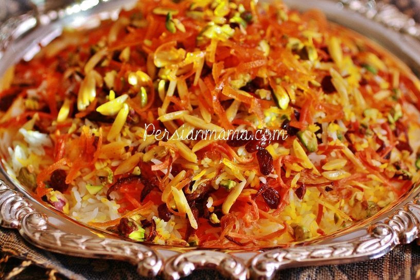 Shirin polo shirin polo also known as javaher polo or jeweled rice is a glamorous persian sweet rice with candied citrus zest sweet carrots almonds pistachios forumfinder Choice Image