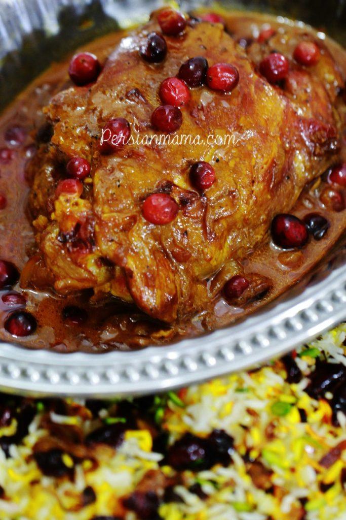 Tender turkey in saffron broth with fresh cranberries