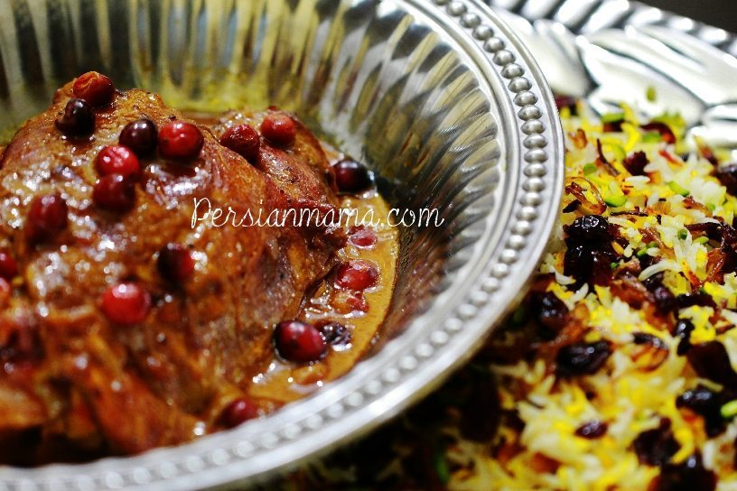 turkey and cranberries in saffron broth served with pistachio rice
