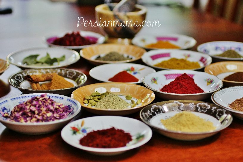 A colorful display of Persian spices