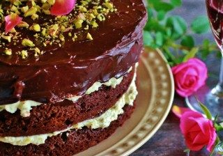Chocolate Torte with Pistachio Mascarpone Filling fb